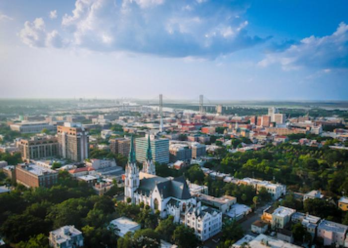 An aerial view of Savannah