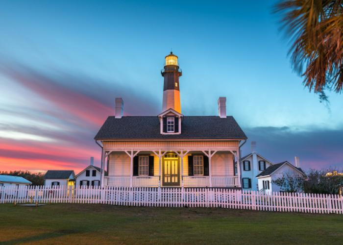 A lighthouse on Tybee Island