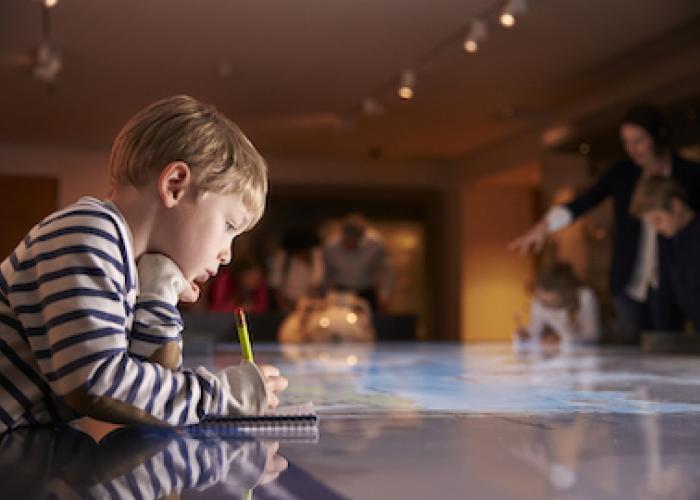 A little boy explores a museum