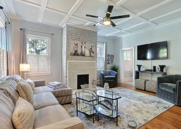 A living room of a Savannah vacation rental